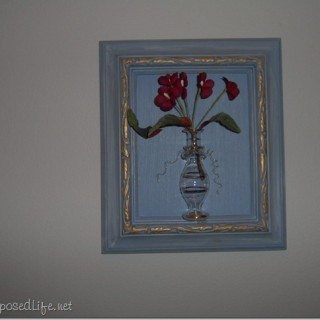 Framed Old Bottle with Silk Flowers