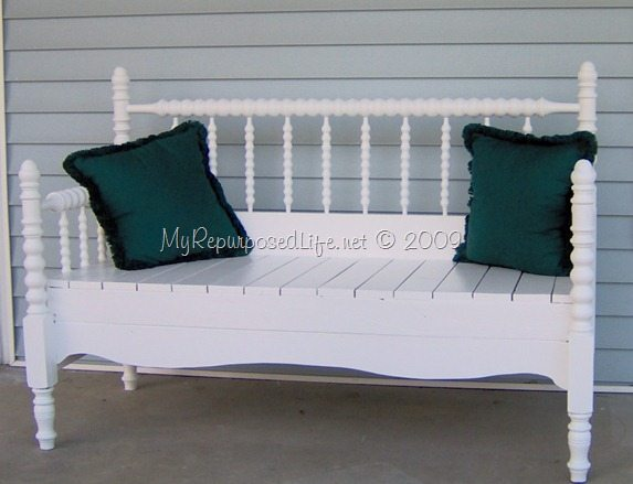 Headboard bench full size spindle or spool bed my repurposed life for Bedroom benches king size bed