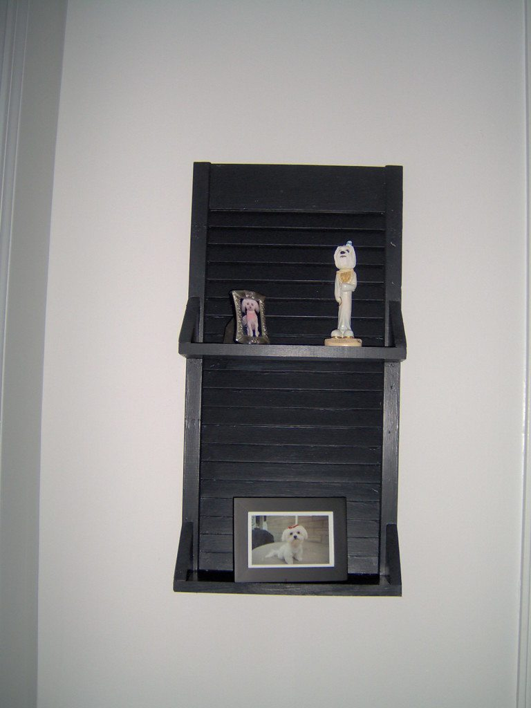 simple black shutter shelf
