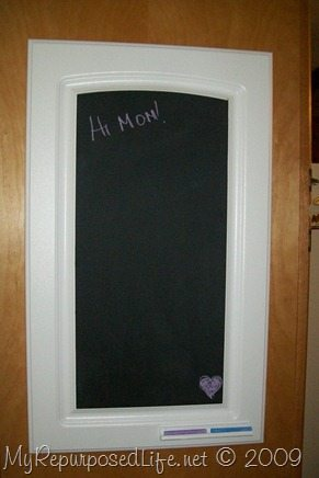 Repurposed Cabinet Door Into A Chalkboard My Repurposed