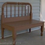 Brown twin spool bed repurposed into a bench