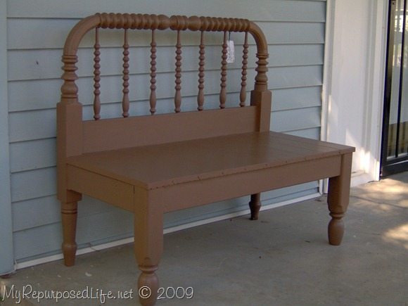 Brown Twin Spool Bed Repurposed Into A Bench My