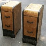 Brown paper bag decoupaged night stands