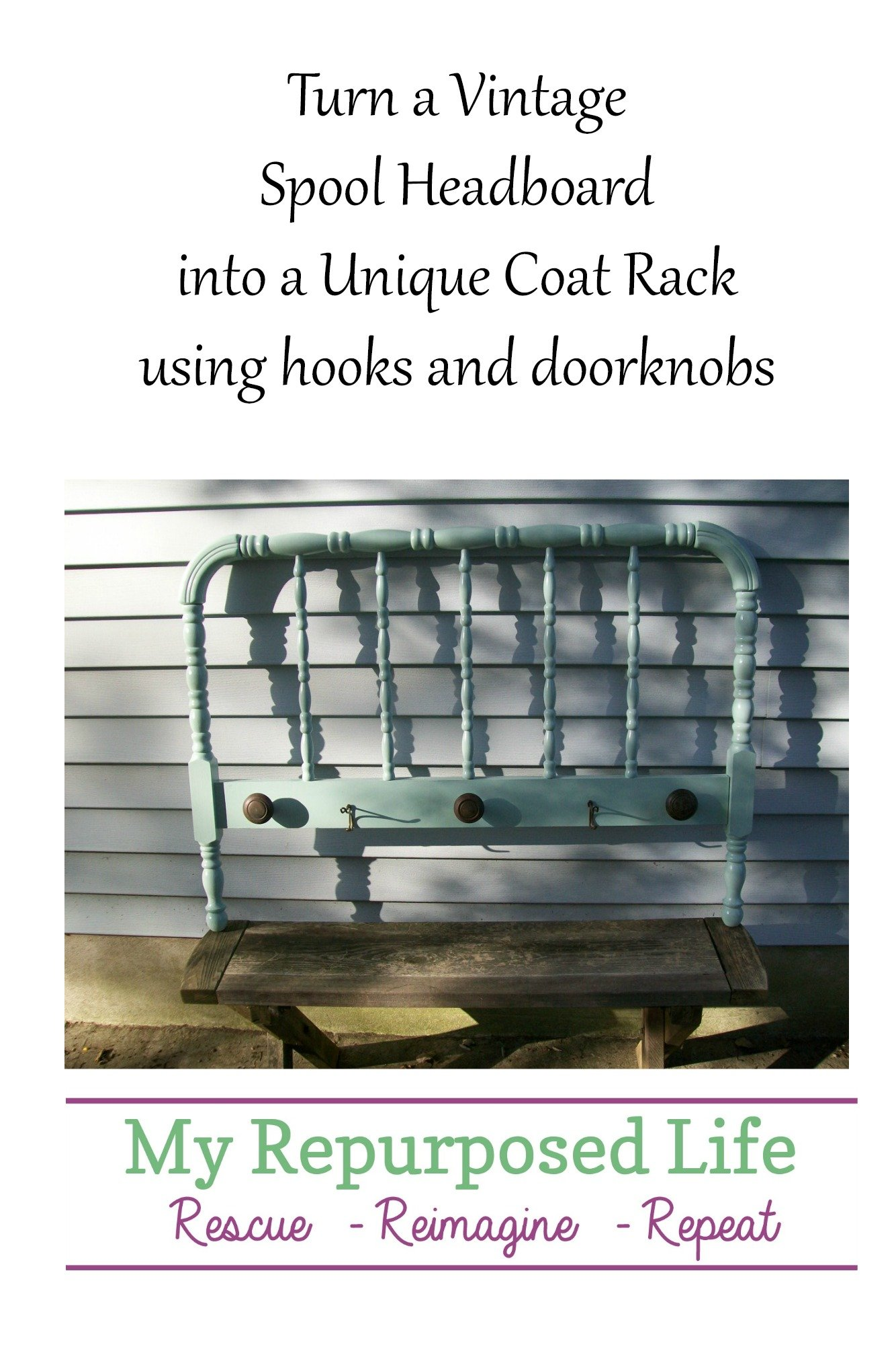 How to make a headboard coat rack using an antique spool bed. Add paint, vintage doorknobs and hooks and you'll be more organized in no time. #MyRepurposedLife #repurposed #headboard #coatrack #antique #doorknobs via @repurposedlife
