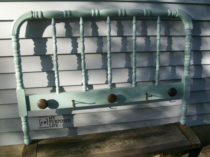 repurposed furniture spool bed coat rack