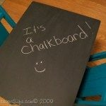 kid's chalkboard table made from a side table