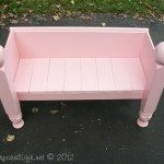 Child's bench made from a foot board