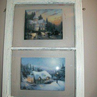 Thomas Kinkade decoupaged window
