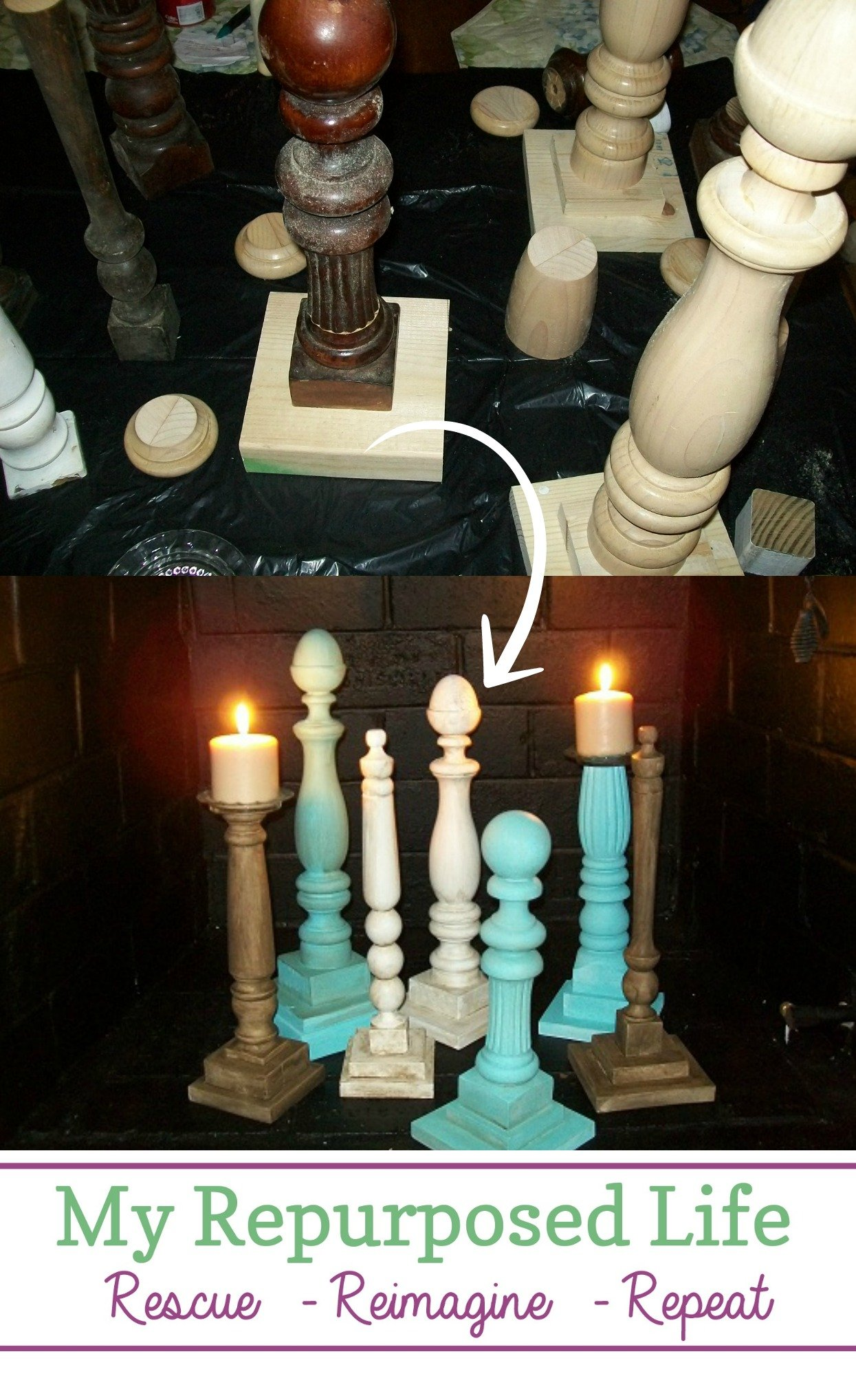 How to make fun and creative finials and wooden diy candlesticks out of old beds, chairs and more! #MyRepurposedLife #spindles #candlesticks #diy #project #easy via @repurposedlife