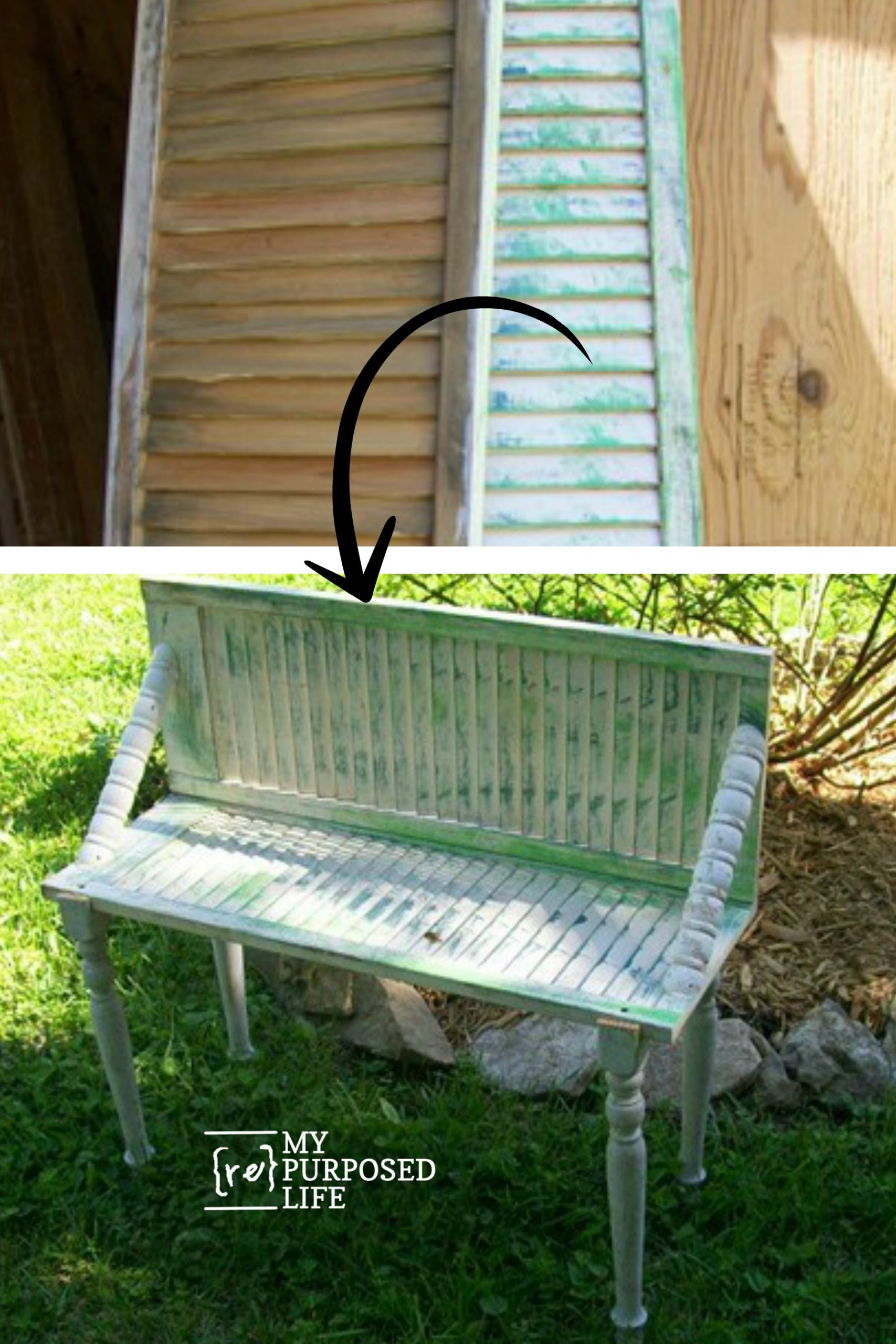 How to make a cute shutter garden bench. What? You don't have a shutter? No problem! Use an old bi-fold door. I use them for shutter projects all the time. #MyRepurposedLife #shutter #garden #bench via @repurposedlife