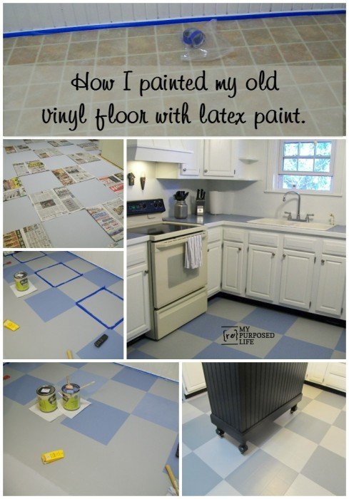 How I Painted My Vinyl Floor - My Repurposed Life®