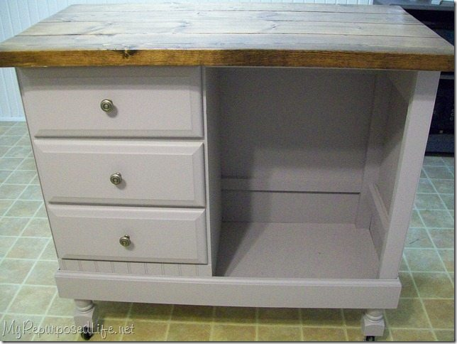 kitchen island made from desk - my repurposed life™