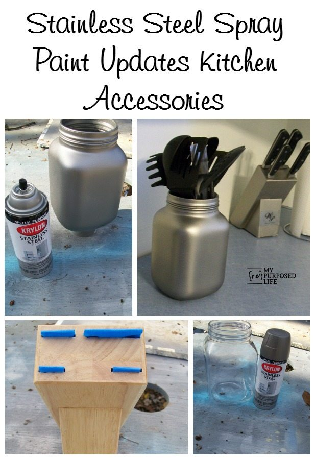 How to use Krylon stainless steel spray paint to update kitchen accessories such as a knife block and a glass utensil holder. #MyRepurposedLife #repurposed #kitchen #accessories #spraypaint #stainlesssteel via @repurposedlife