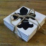 Fleur-de-lis tile coasters