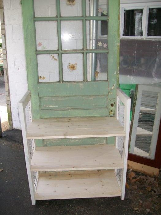 add shelves to repurposed door
