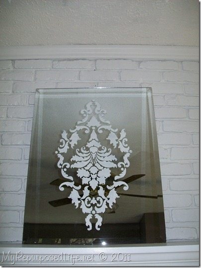 Damask Stenciled Mirror My Repurposed Life