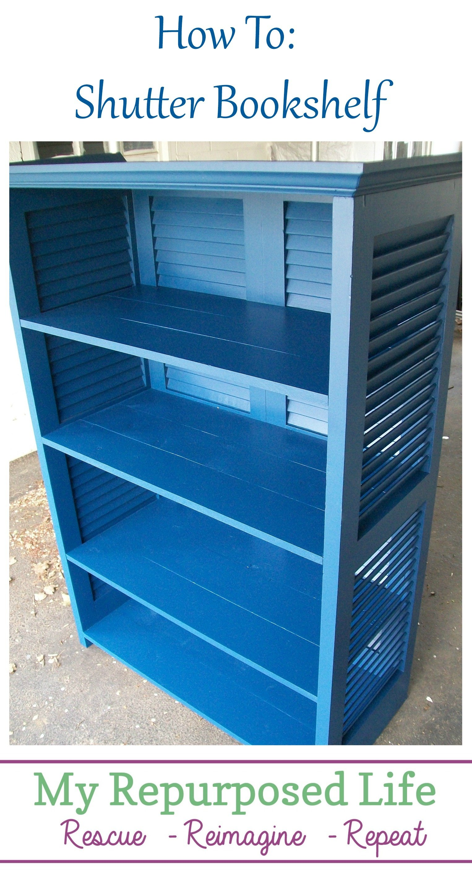 How to use four shutters to make a repurposed bookshelf. Step by step directions included to make your own project. Lots of tips and tidbits to Do It Yourself! #MyRepurposedLife #repurposed #shutter #bookshelf #upcycle #diy #project via @repurposedlife