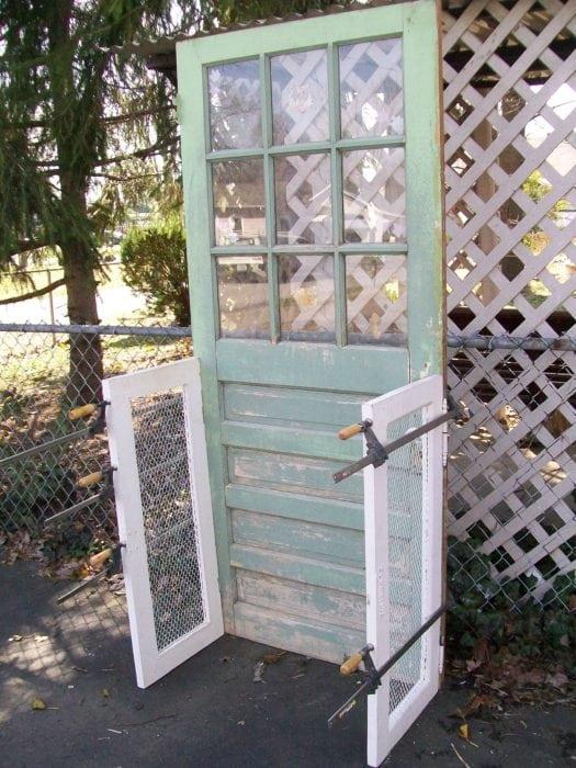repurposed door bookshelf project design