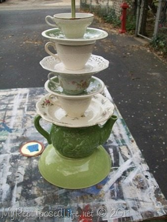 Drilling glass teacups and saucers takes a little patience, but it's well worth the effort if you love the look of teapot lamps. Tips on how to make these kind of projects. #MyRepurposedLife #repurposed #teapots #lamp #diy via @repurposedlife