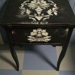 Repurposed Sewing Table Stenciled