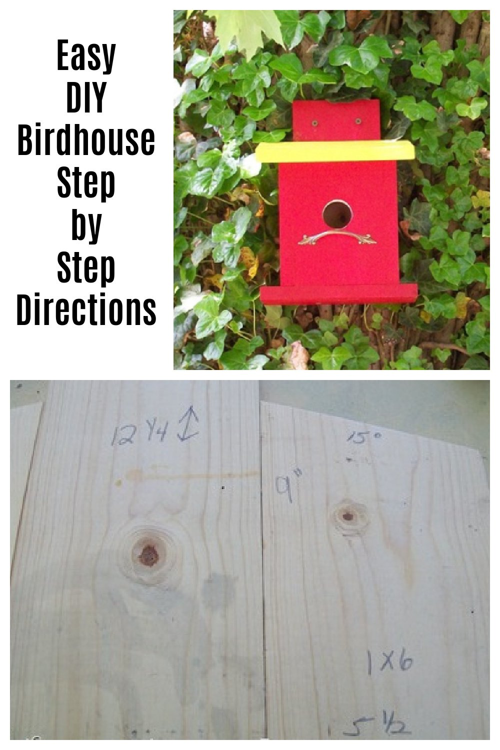 This easy DIY birdhouse is quick and fun to make with these step by step directions with all the information you need, including measurements. #MyRepurposedLife #easy #diy #birdhouse #scrapwood via @repurposedlife