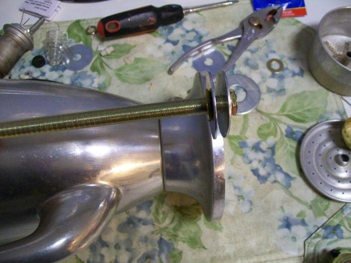 thread lamp rod through vintage coffee pot