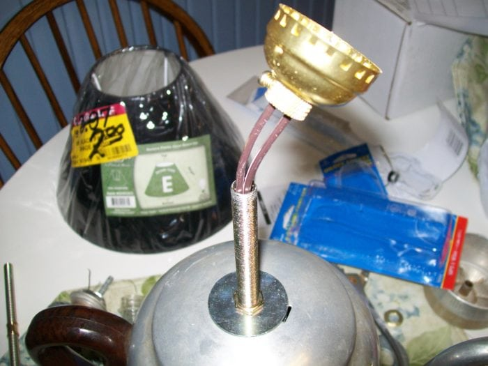 wire vintage coffee pot lamp