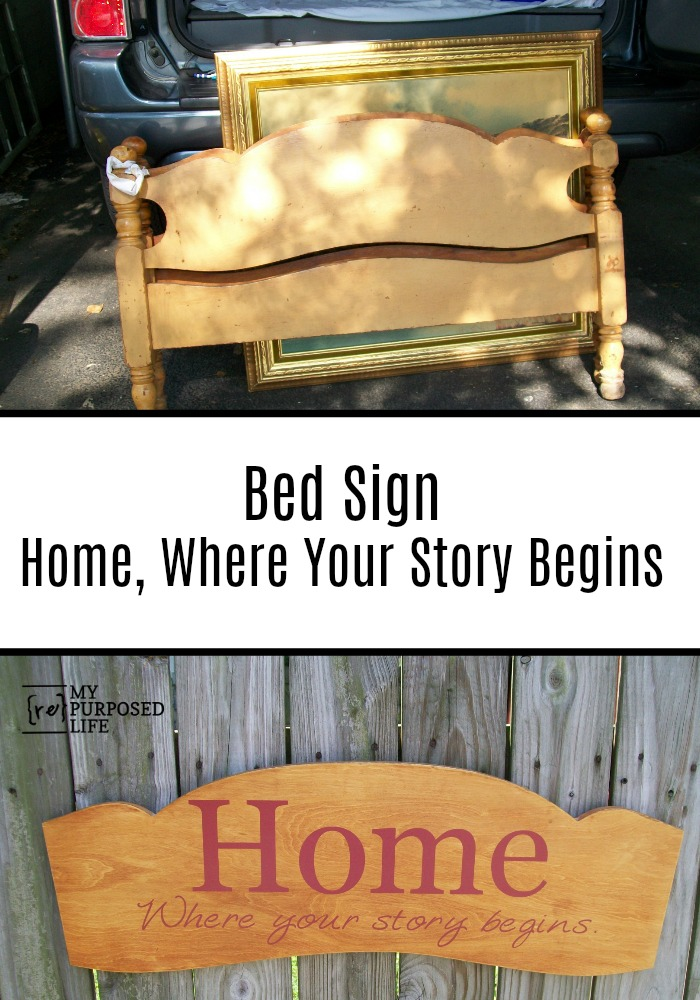 How to make a extra large headboard sign Home out of a free headboard using a Silhouette machine and vinyl. More ideas for large bed signs. #MyRepurposedLife #repurposed #headboard #sign #bed #whereyourstorybegins via @repurposedlife