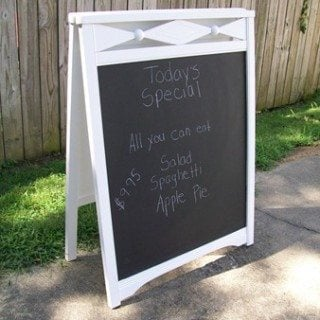 Repurposed Old Crib into Easel/sandwich board sign