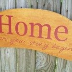 "Another Repurposed Headboard Sign ""Home"""
