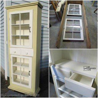 Cupboard with Repurposed Windows Pt II