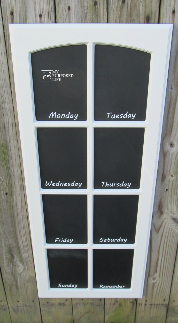 How to make easy chalkboards from paned cupboard doors. The dividers are perfect for a menu board. Tips for adding days of the week vinyl. Magnetic paint FAIL. #MyRepurposedLife #chalkboard #menu #cabinet #door #repurposed via @repurposedlife