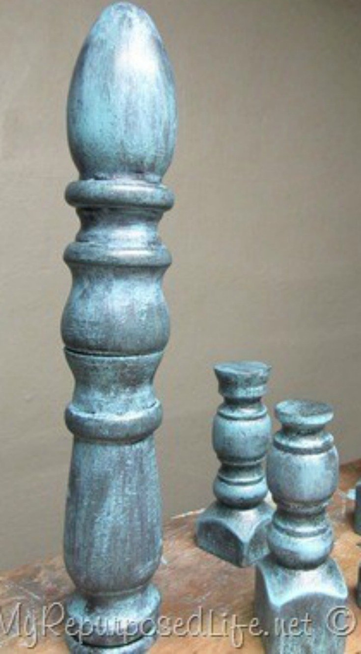 How to make decorative finials from bed posts and spindles. Tips on cutting bed posts and getting a great aged paint look using two colors of paint. Easy! #MyRepurposedLife #repurposed #finials #diy #project via @repurposedlife