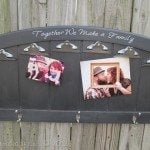 repurposed headboard photo display