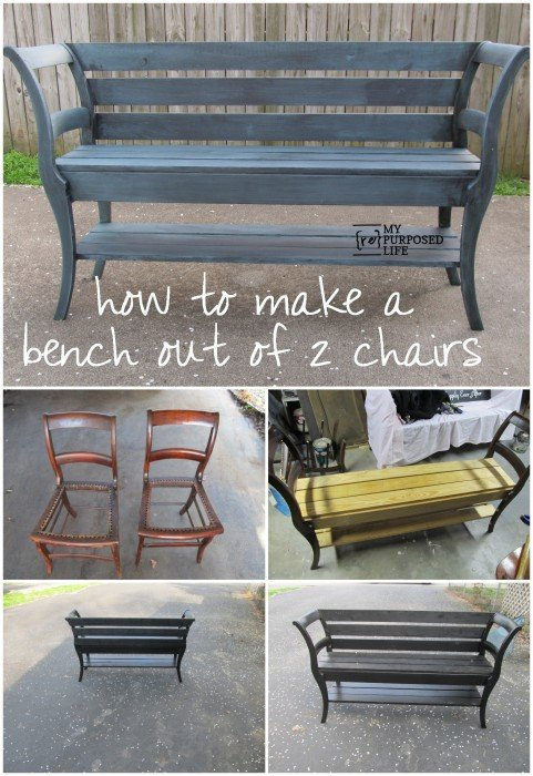 Repurposed chairs double chair bench - Relooker chaise bois ...