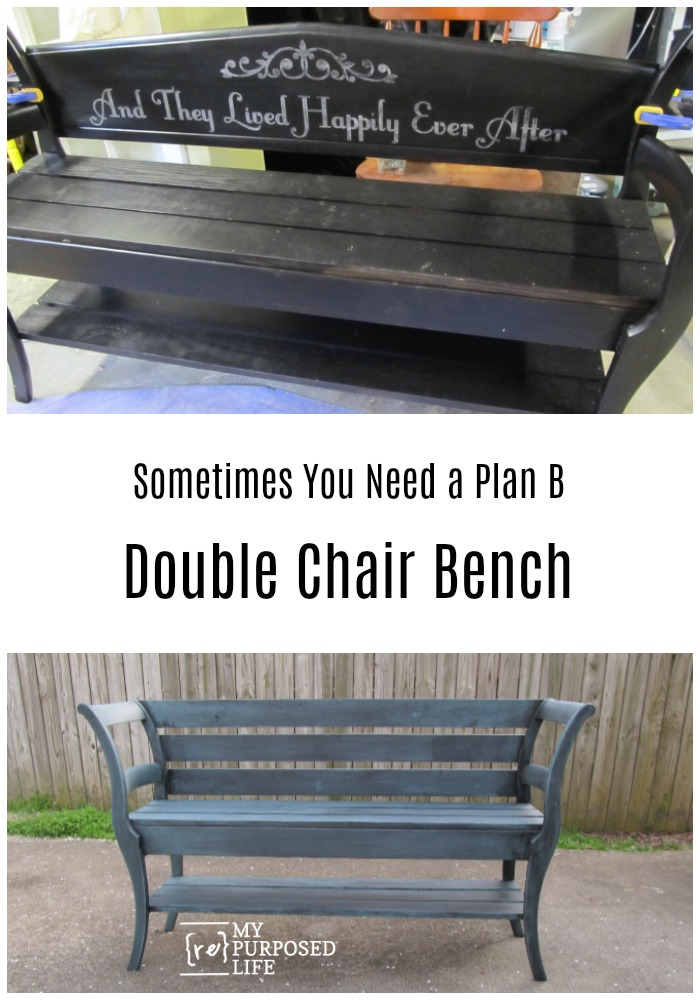 How to make a diy double chair bench out of two unwanted chairs and some new lumber. Perfect for the entryway or end of the bed. Update of a project fail. #MyRepurposedLife #repurposed #chair #bench #projectfail #update via @repurposedlife