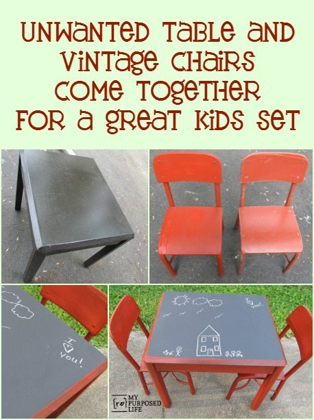 A Side Table And Some Thrifted Chairs Are The Perfect Match For A Kids  Chalkboard Table. DIY Chalk Paint
