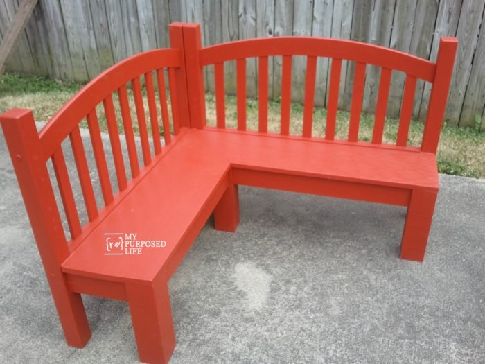 red banquette bench for kids corner table MyRepurposedLife