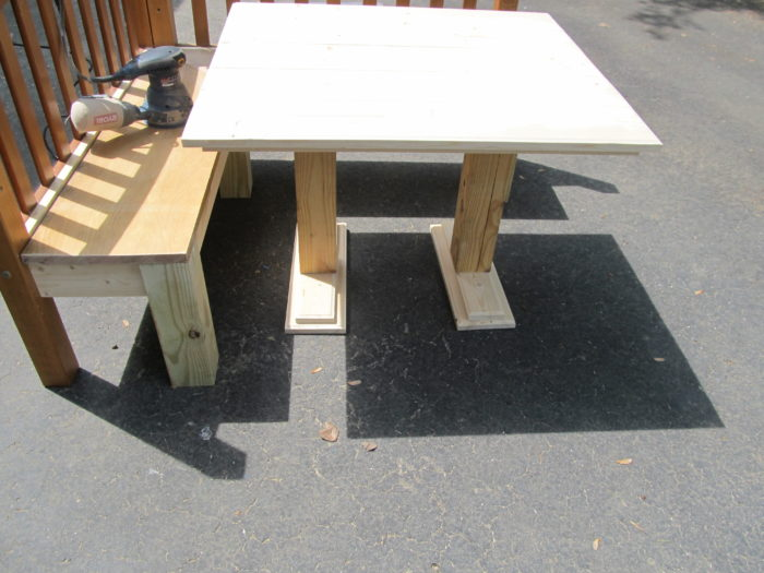test fit table and corner bench
