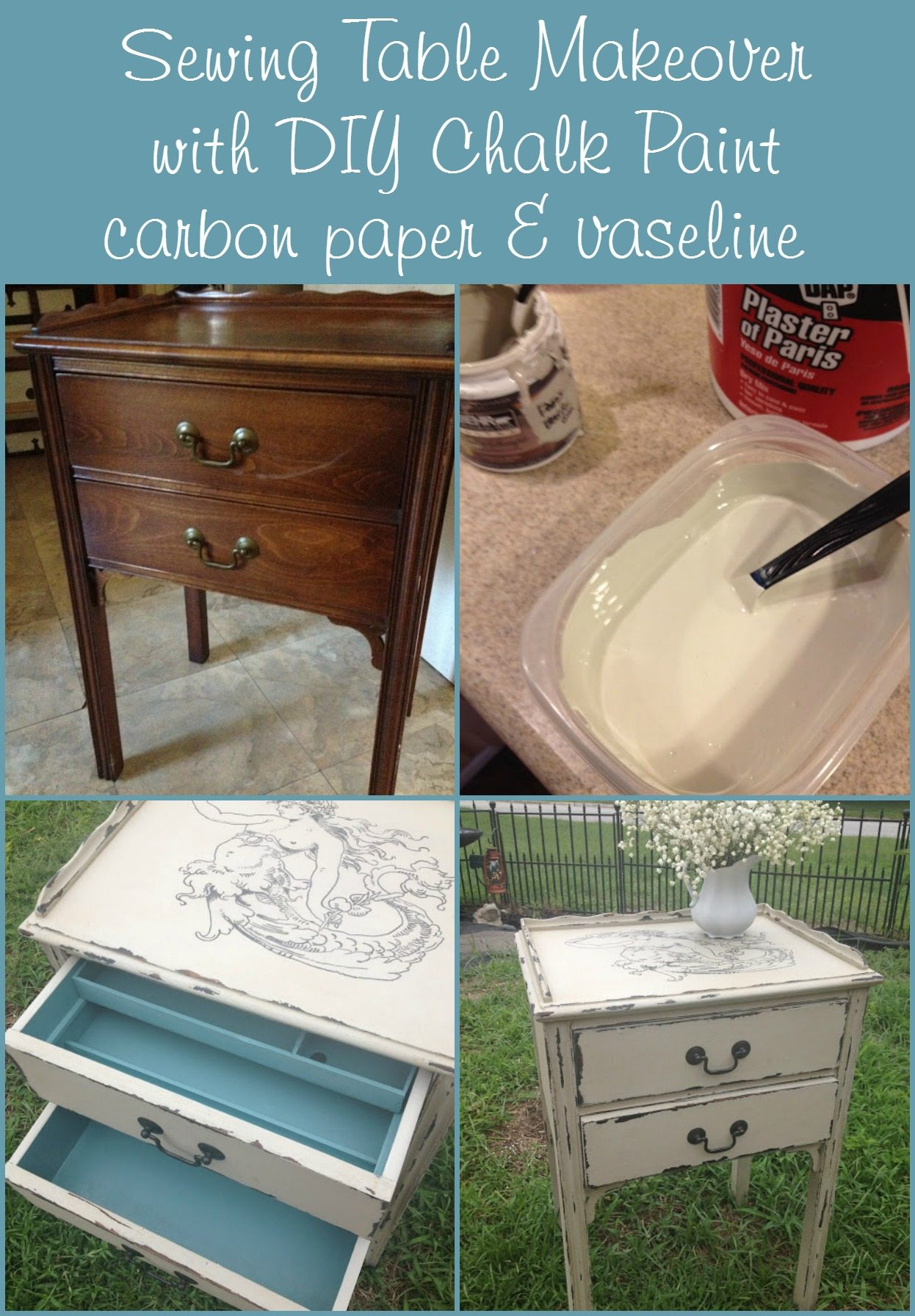 Sewing table makeover using paint, a carbon traced Graphics Fairy image, painted with a paint pen. Old sewing table into a great new piece! Love the blue drawers. #MyRepurposedLife #repurposed #furniture #sewingtable #diy via @repurposedlife