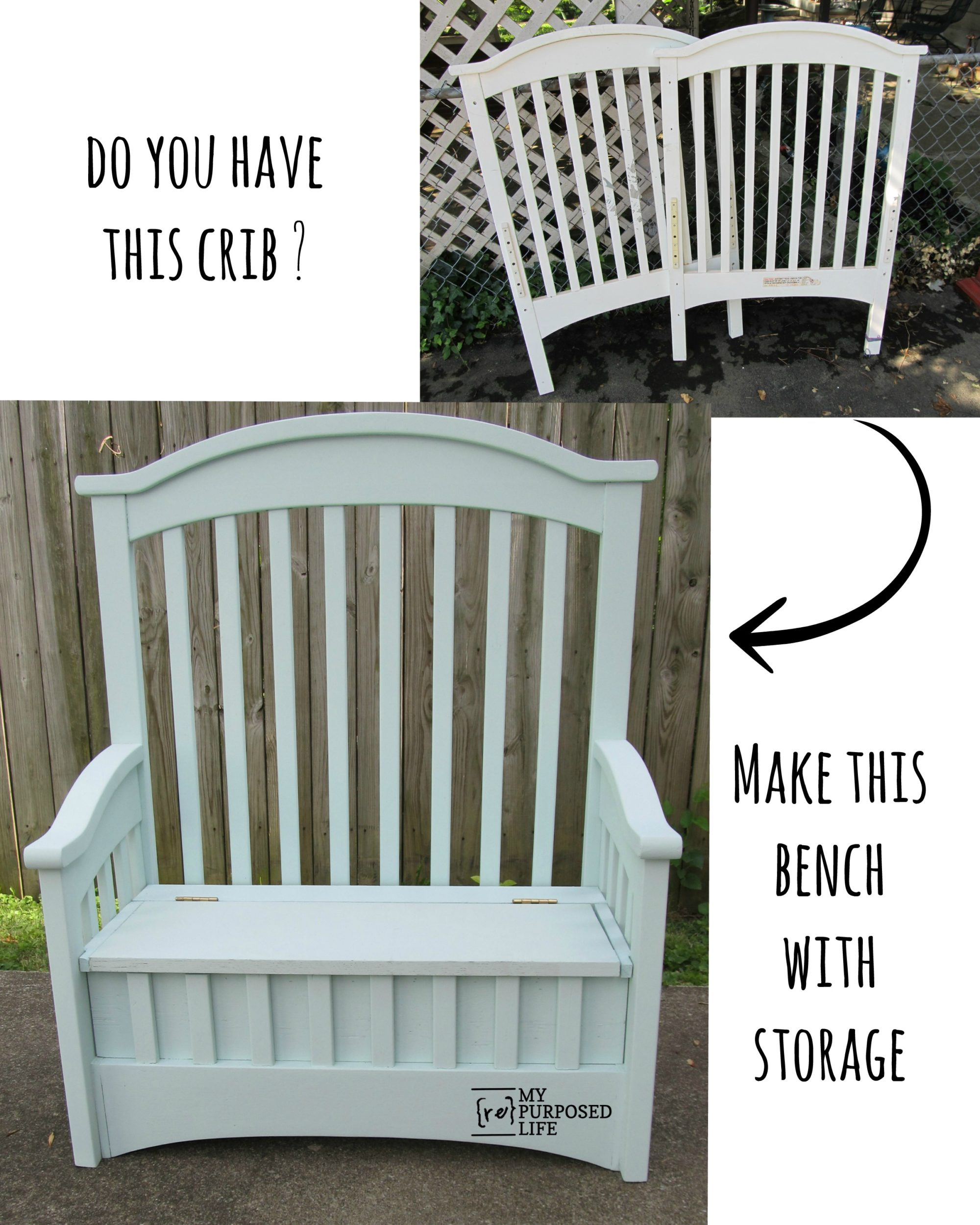 Repurposed Crib into Toy Box Bench - My Repurposed Life™