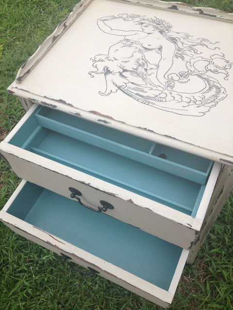 sewing table makeover with blue drawers