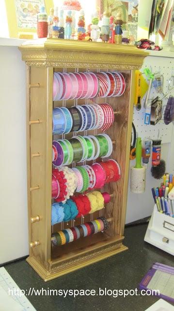 DIY Ribbon Storage Cabinet