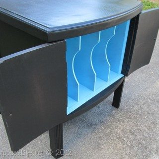 Vintage Record Cabinet Makeover repair bad veneer