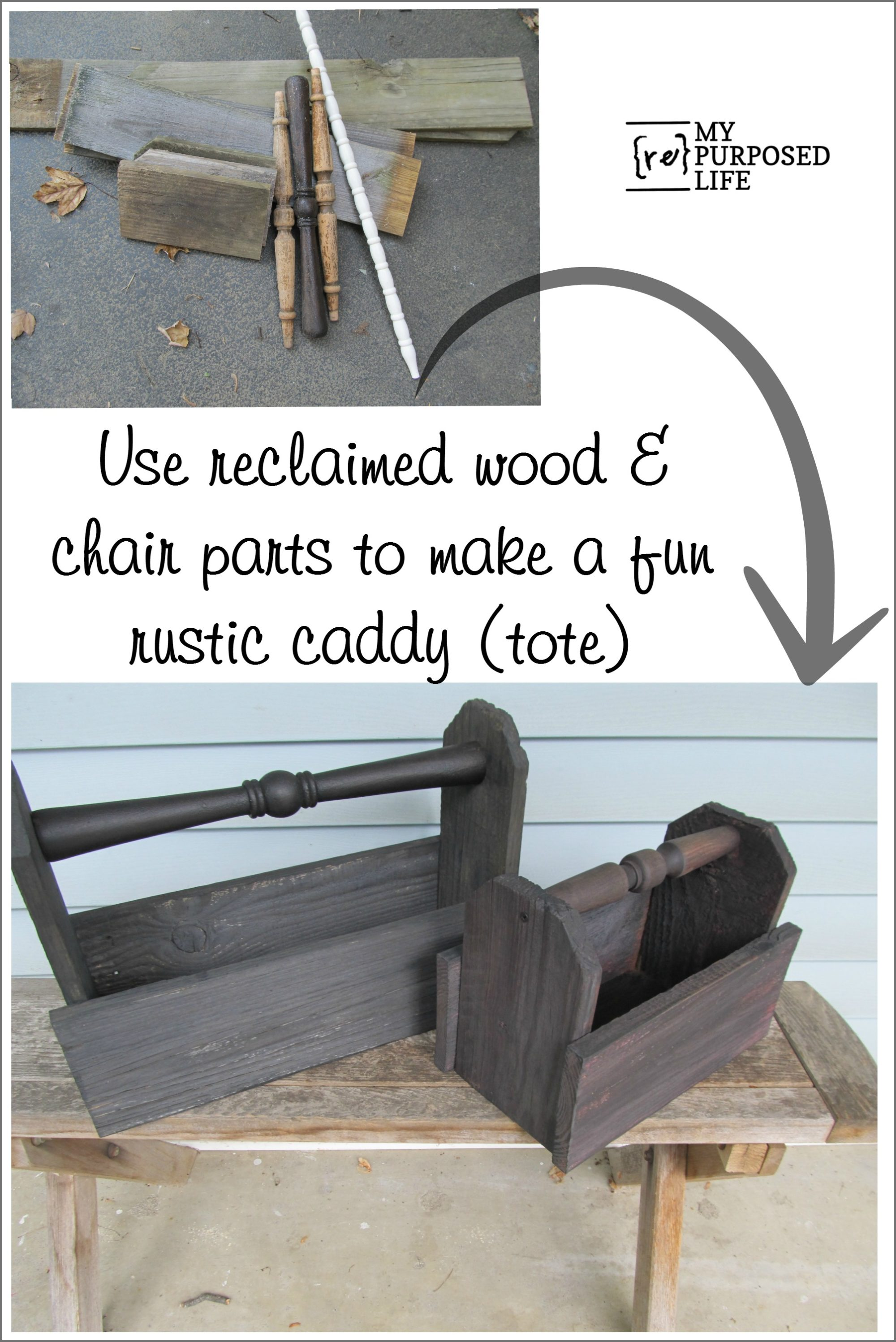 Wood Parts Chair ~ Diy wooden caddy my repurposed life