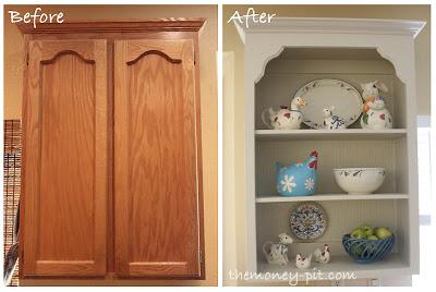 oak cupboard to white open shelving