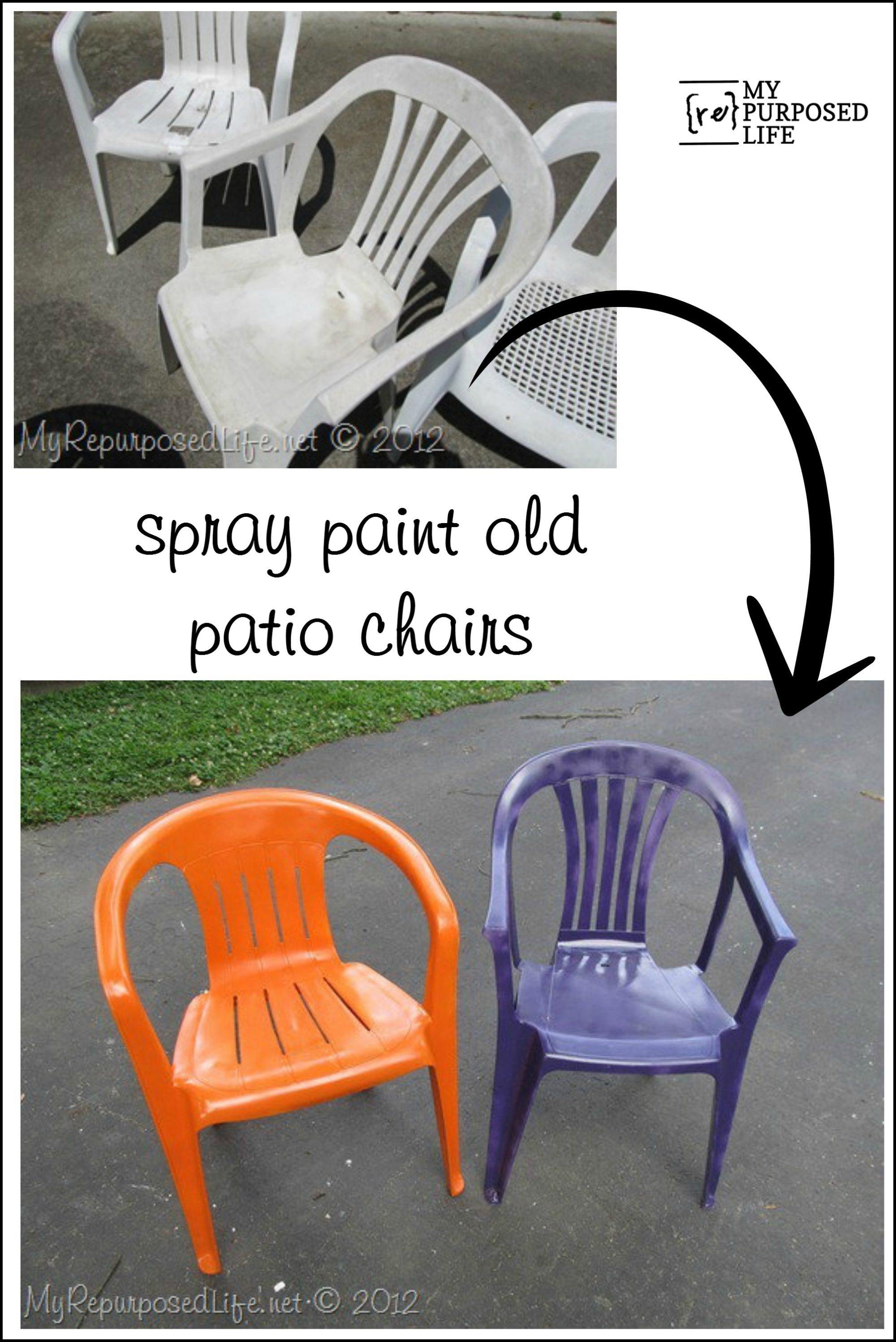 Spray paint plastic chairs Painting plastic garden furniture