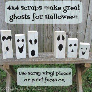 4×4 post Jack-o-Lanterns & Ghosts {Halloween Décor}