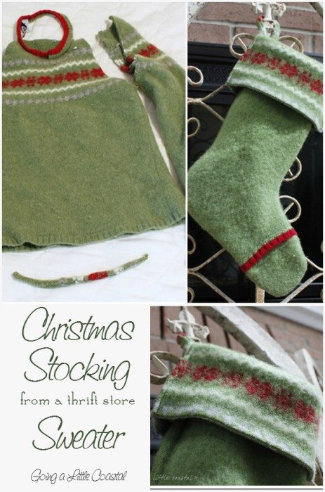 felted Christmas stocking made from a wool thrift store sweater #diy #christmas #stocking #project