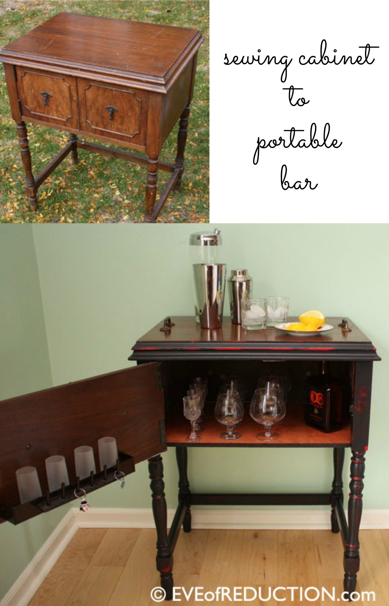 How to make a sewing cabinet bar. Old sewing machine cabinets make great new useful pieces including bar carts. Easy weekend project to DIY. #MyRepurposedLife #repurposed #furniture #sewingcabinet #bar #weekendproject via @repurposedlife